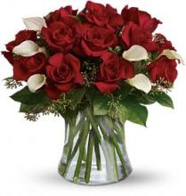 Be Still My Heart - Red Roses with Elegant Calla Lilies